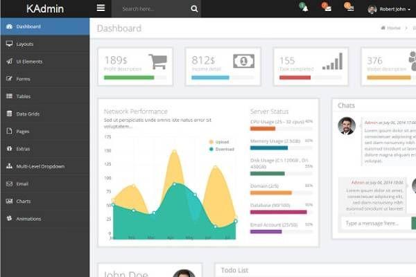 K-Admin Theme at BootstrapZero