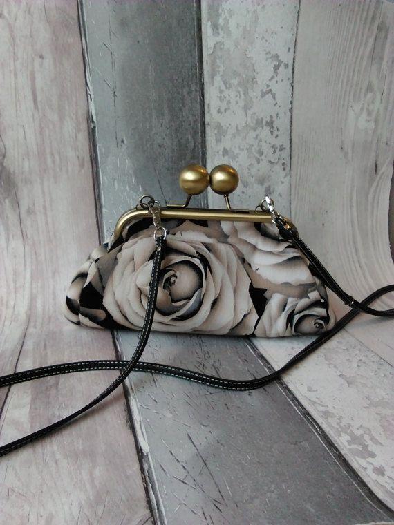 Handmade Clutch bag  Black rose cotton by KitchenFairiesLeeds