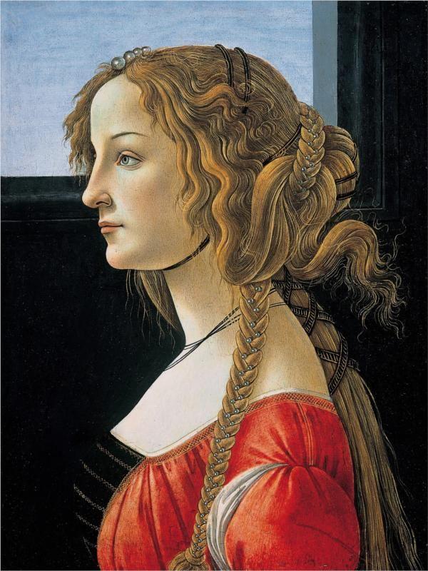 Portrait of Simonetta Vespucci, 1476, Botticelli: Artists, Young Woman, Sandro Botticelli, Italian Renaissance, Simonetta Vespucci, Berlin, Paintings, Portraits, Hair