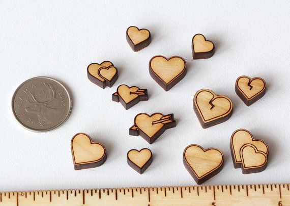 Heart Icons Set  collection of 12pcs wooden charms by Schmaser