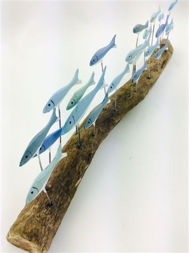 Decorative wooden fish - Seaside Gifts - maritime and nautical gifts and beach decorations in the UK, hanging fish ornaments ideal as decoration in a fish restaurant, wooden school of fish art and other fish themed decorative items.