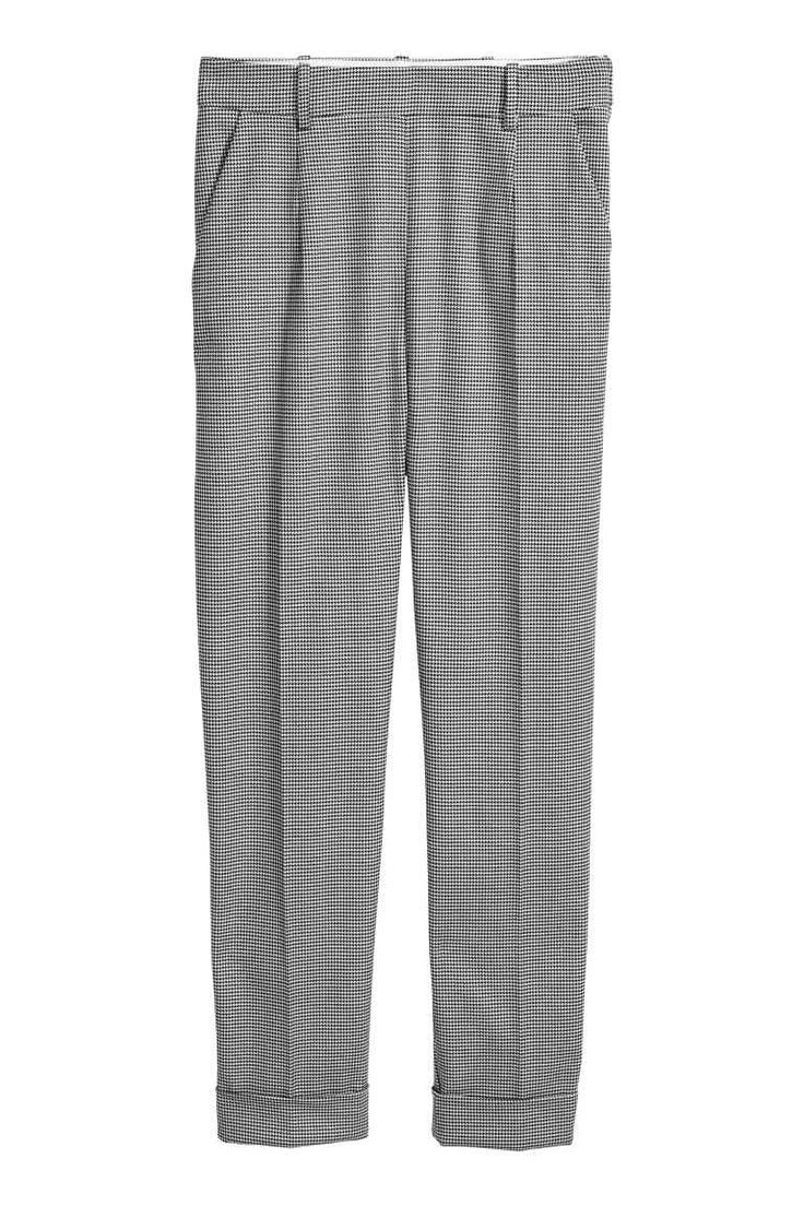 Dogtooth check suit trousers - Light grey/Black - Ladies | H&M GB