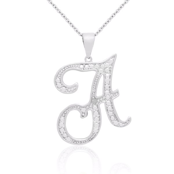 Initial necklace 15 pinterest finesque silver overlay diamond accent initial necklace i j i2 i3 mozeypictures Image collections