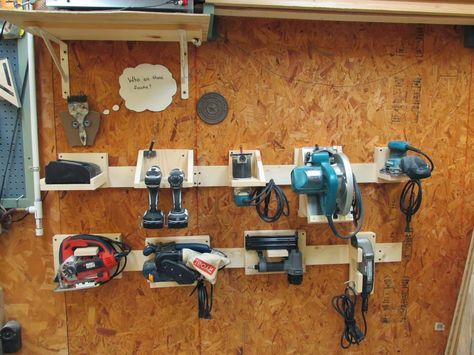 DIY Power Tool Storage System. Good instruction on French Cleats, too.