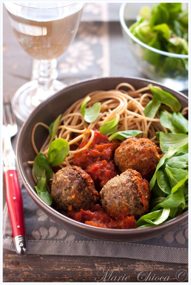 Polpettes italiennes aux herbes et spaghettis d'épeautre (IG Bas )