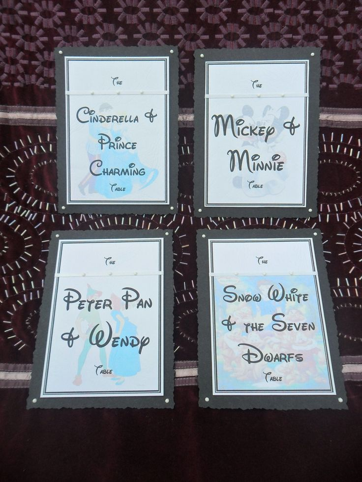 Table Themes Disney Themed Wedding Table Names or Numbers. £2.35, via Etsy.