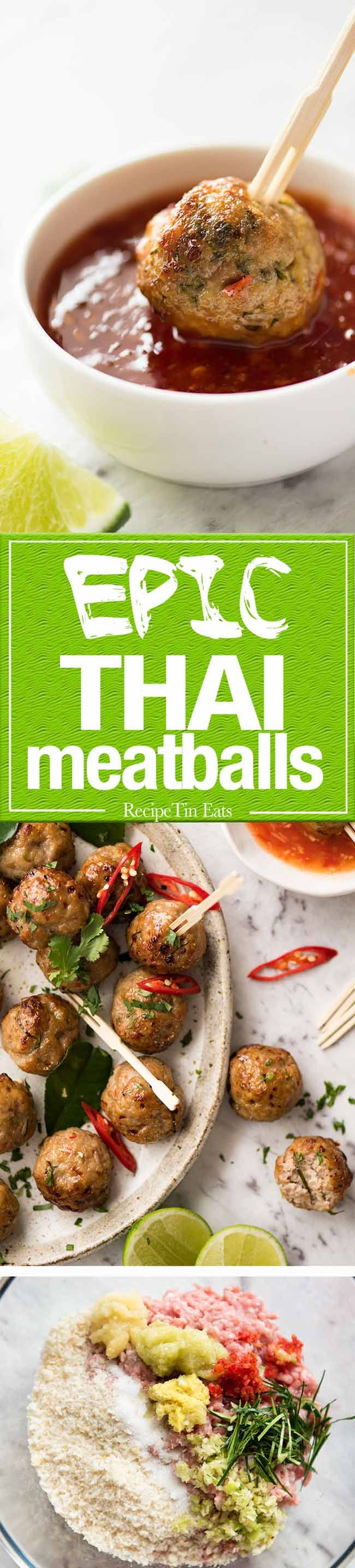These Thai Meatballs are packed with bright, earthy Thai flavours! Make these with chicken or pork. www.recipetineats.com