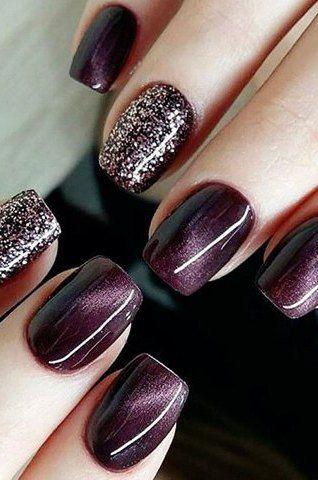 Purple and Glitter Nails