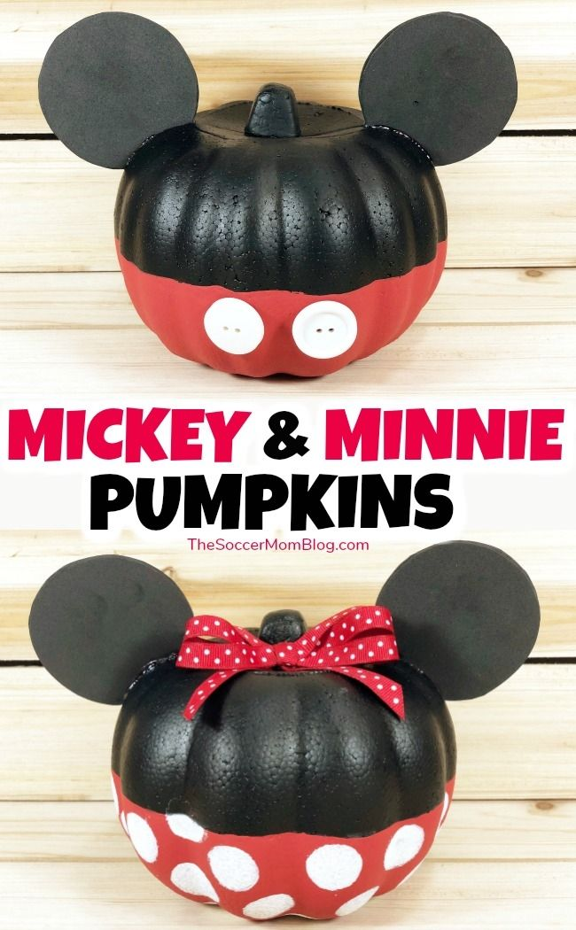 Mickey & Minnie Mouse Pumpkins {Easy Dollar Store Halloween Craft}