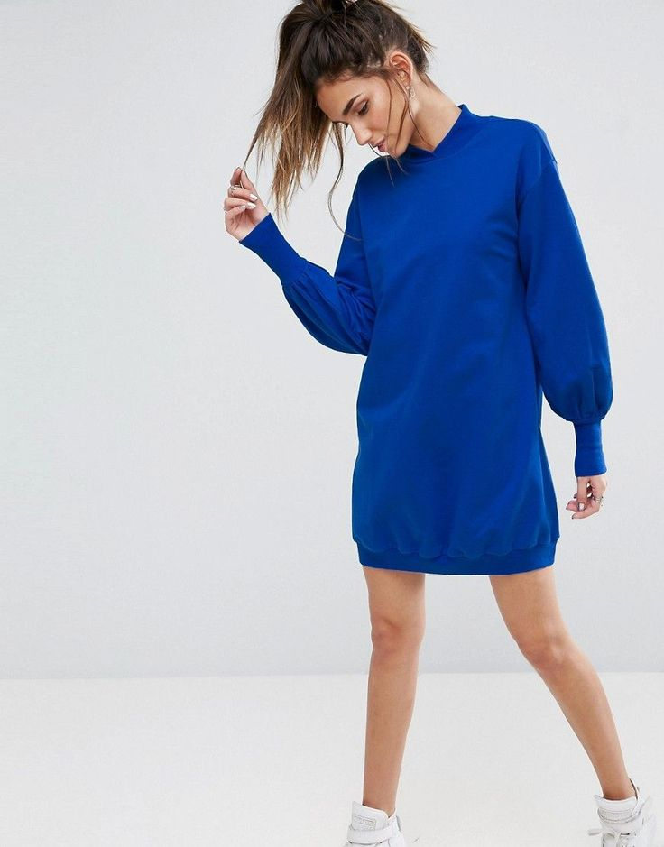 ASOS Oversized Sweat Dress with Balloon Sleeve - Blue