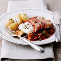 Cod Wrapped in Pancetta with a Quick Ratatouille