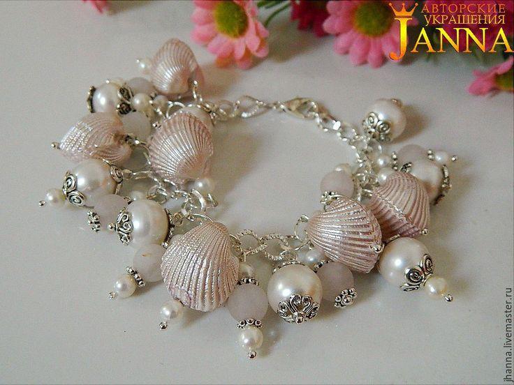 Купить Серебряный браслет из розового кварца, речного жемчуга класс АА+++ - браслет, браслет из раковин