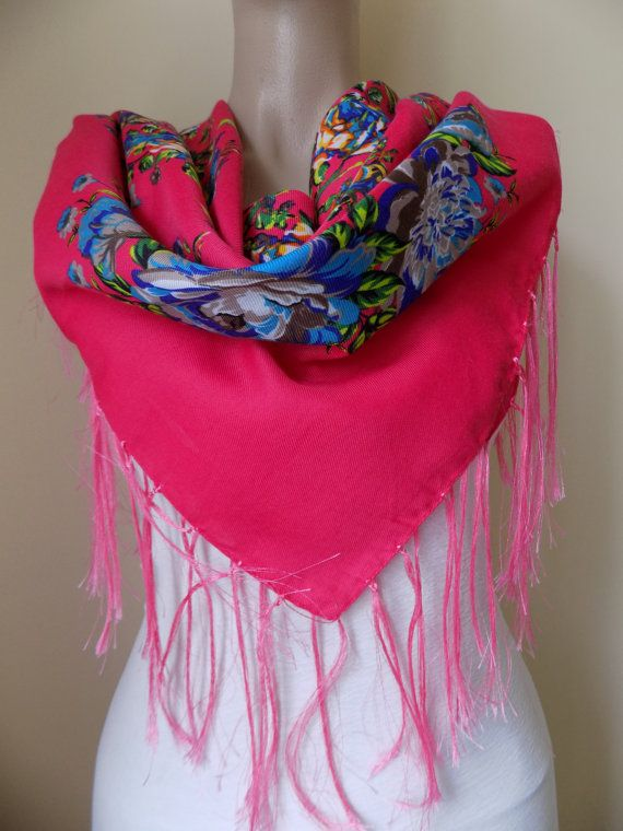 Pink  scarf floral scarf winter head scarf fringe by hedopart