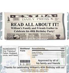 These Over the Hill The Daily News Candy Bar Wrappers make the perfect party favors for any news worthy over the hill birthday party.