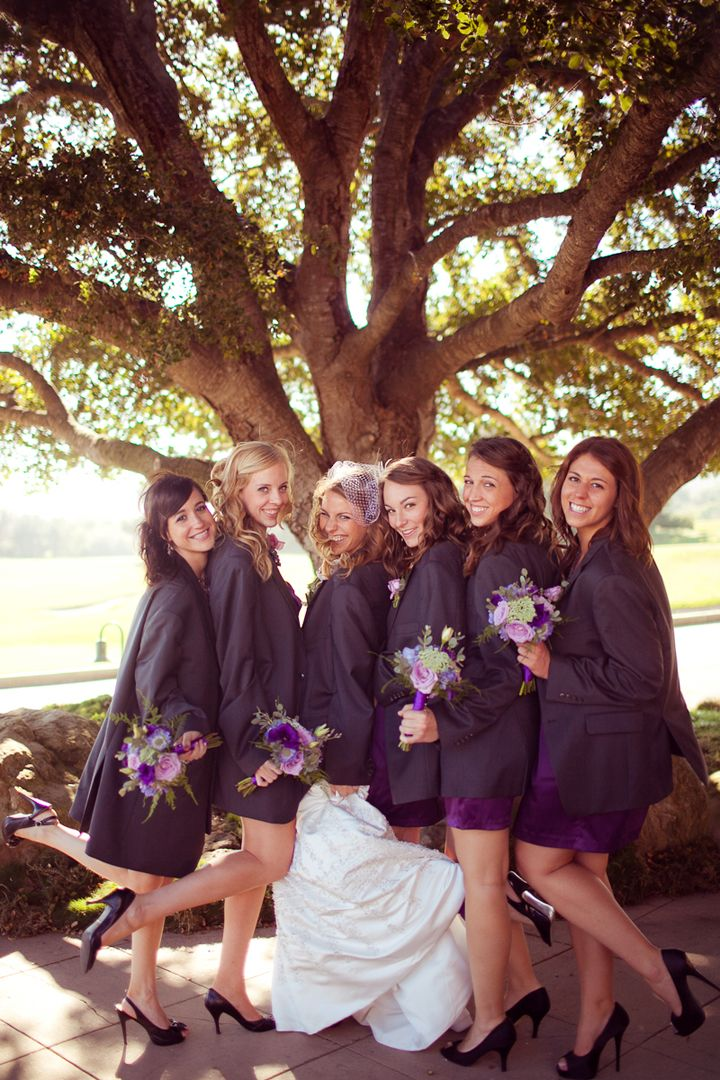 Photo op :) Bridesmaids in the groomsmen's jackets, this is so cute :)