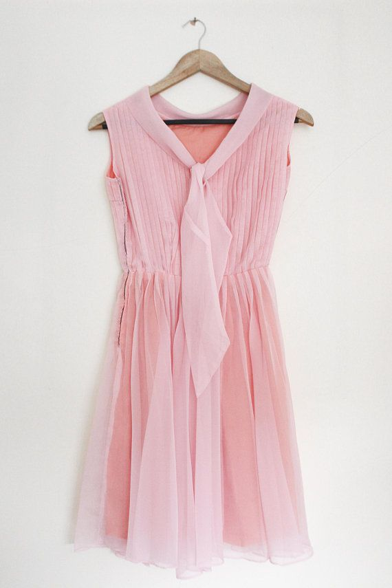 c943ae825e0ebf 1950s Pink Day Dress • Babydoll Dress • Pleated Dress • Pussybow ...