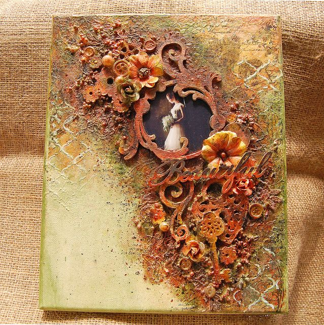 Hello! I made this rustic mixed media canvas with the Video Tutorial for a collaboration with Stamperia with their fantastic products. ...