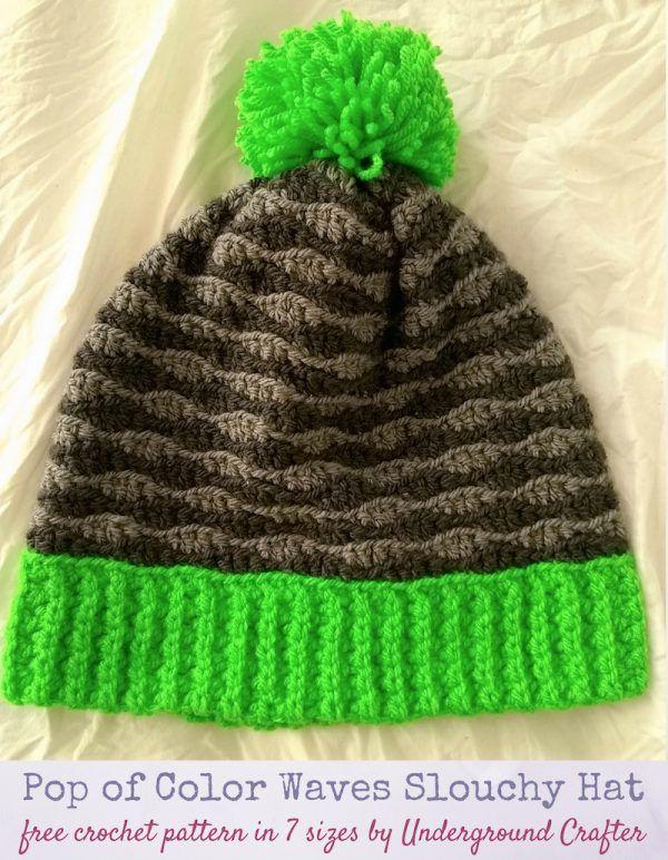 Crochet Pattern Pop Of Color Waves Slouchy Hat In 7 Sizes Crochet