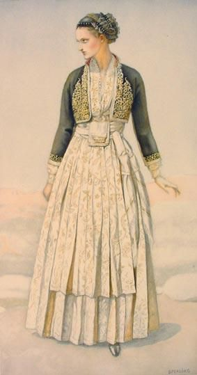 Traditional festive costume from Verroia (northern Greece). Urban style, 19th century.