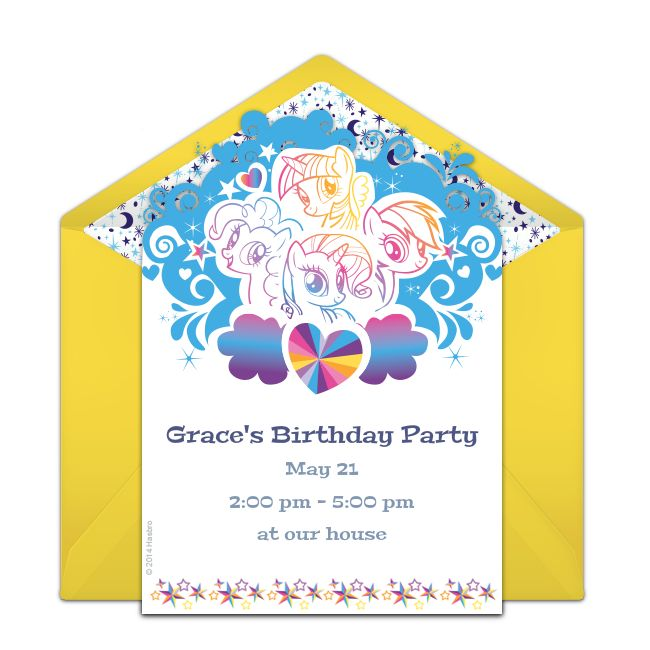 Customizable, free Rainbow Pop online invitations. Easy to personalize and send for a My Little Pony birthday party. #punchbowl