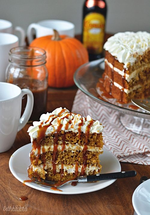PSL Cake with Spiced Buttercream, Whipped Cream, and Kahlua Caramel Sa