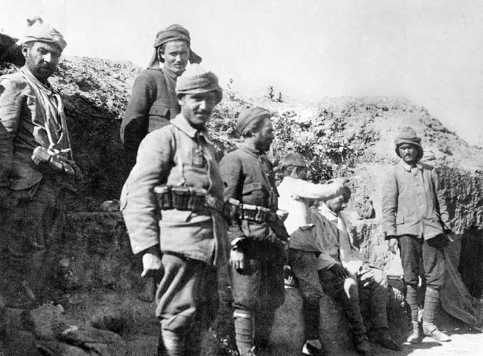 Turkish soldiers in a trench at Gallipoli.