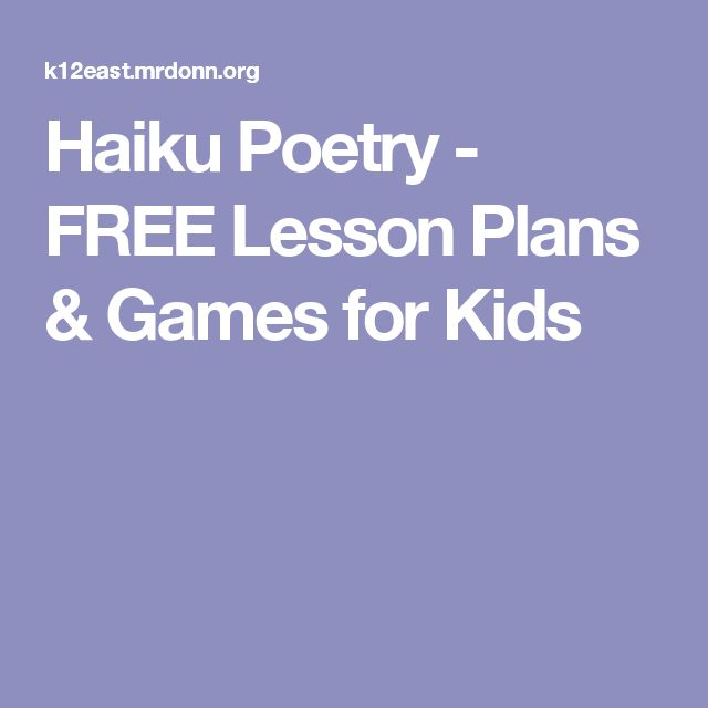 how to write a haiku for kids
