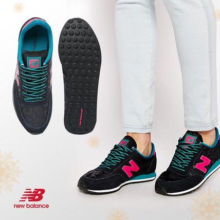 ニューバランス☆410スエードミックス黒とピンクのスニーカー