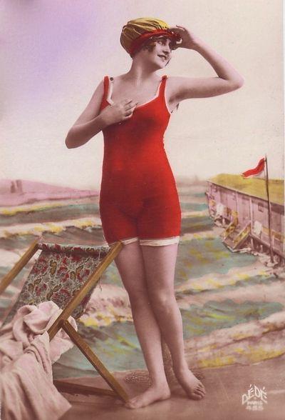 Beautiful 1920s Bathing Beauty Postcard