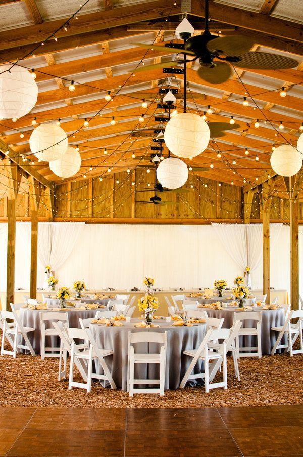 Mix it up.: Paper Lanterns, Yellow Wedding, Wedding Ideas, Barn Weddings, Wedding Photo, String Lights, Receptions Ideas, Barns Wedding, Grey Table