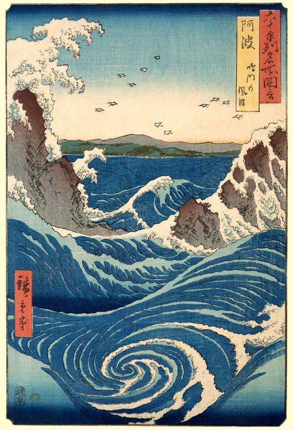 Japanese Hiroshige View of Naruto Whirlpool Counted Cross Stitch Pattern