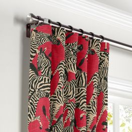 Black, White & Red Zebra Curtains with Pocket Close Up