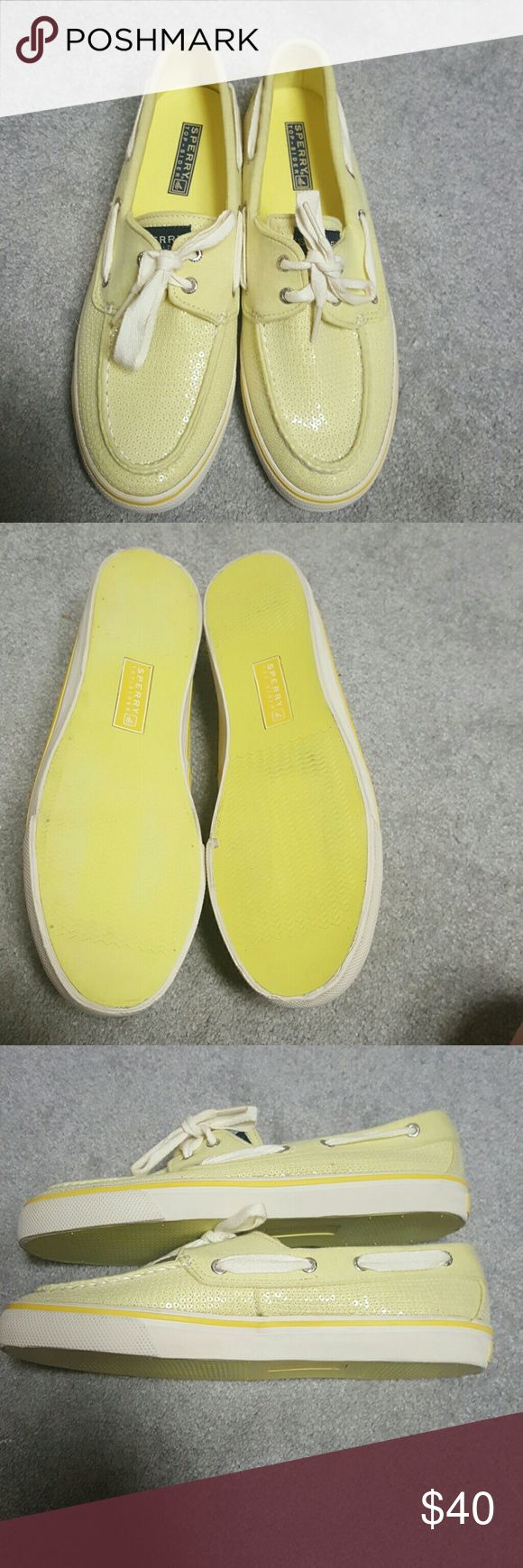 Sperry Topsider Yellow sequin sperry topsiders perfect condition with clear sequins worn once does not come with box Sperry Top-Sider Shoes Flats & Loafers