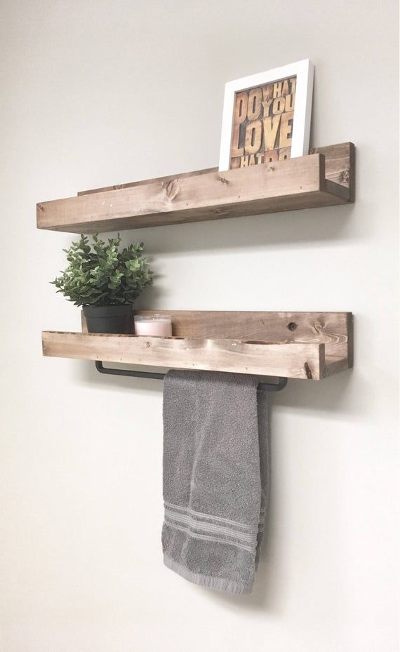 Rustic Wooden Towel Rack For Bathroom Wall Towel Rack Shelf Etsy Wall Towel Racks Towel Rack Bathroom Bathroom Towel Bar