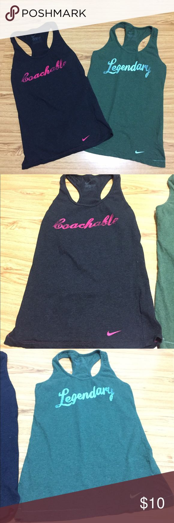 Nike Slim Fit Tank Tops - bundle of 2 Bundle of 2 - Women's Nike slim fit Tank Tops. Both are in size extra small. Colours: charcoal gray/pink stitches and olive green/ light blue stitches. Both are race back tanks. Great comfort tank tops for a great workout! Bundle for more discounts .... fast shipping!! Nike Tops Tank Tops