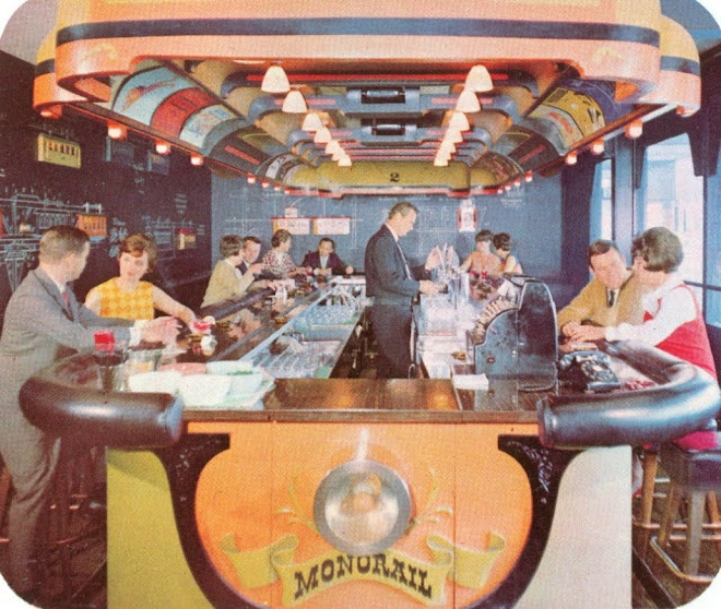 The Monorail Bar from the D-Hotel, 1967-69.  I never knew this even existed, but how I wish I could have a drink here.