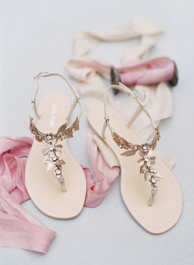 Girly gold flat sandals: http://www.stylemepretty.com/2016/06/14/pink-gold-glitter-austin-wedding/ | Photography: Sophie Epton Photography - http://www.sophieepton.com/