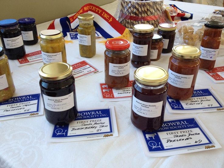 Bowral Show preserves and prize cards.