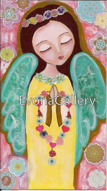 Pintura de arte popular Ángel rezando mixta pared por Evonagallery