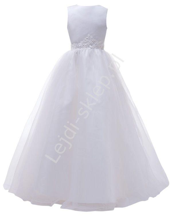 Komunijna sukienka Długa biała sukienka na komunię