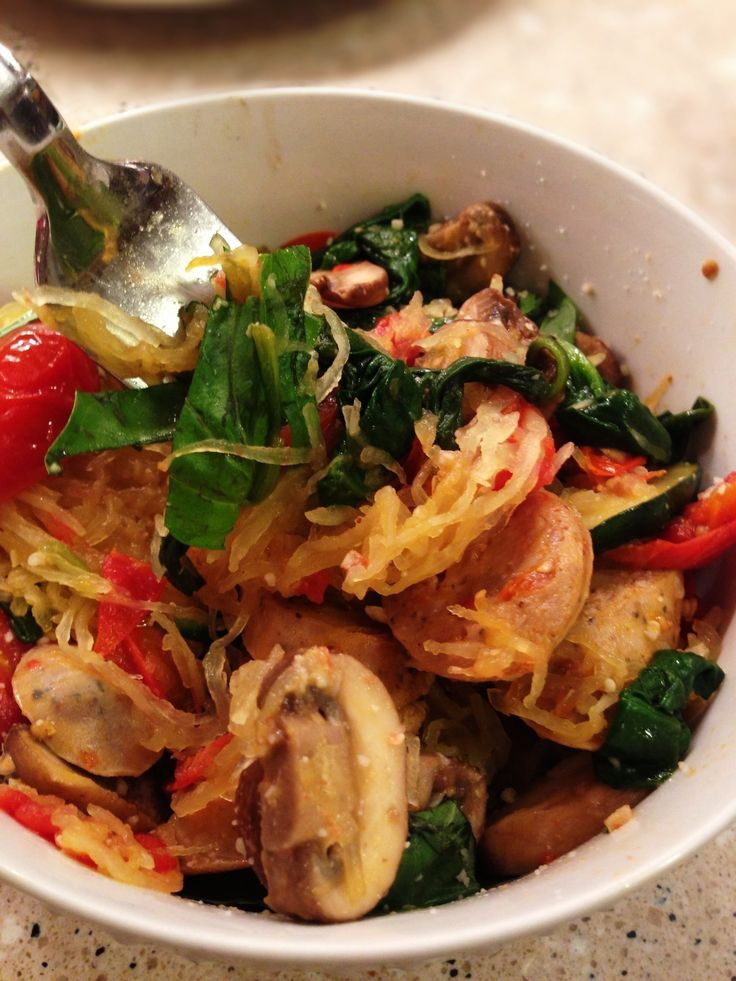 Eat Fit Not Fat- Spaghetti Squash Primavera  minus sausage and cheese, making this for dinner tonight looks good!!