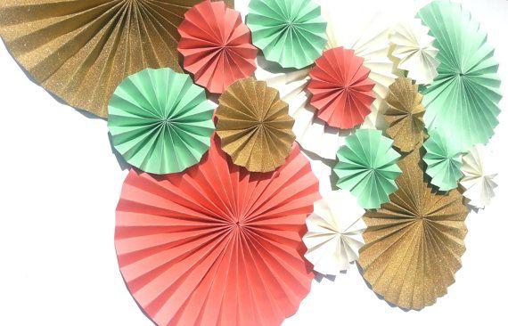Mint, gold, coral, cream pinwheels