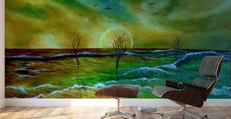 Walls in style, decor, artwork, for sale, colorful, coastal, scene, seascape, waves, trees, nature, sunset, fantasy, impressive, contemporary, modern, fine art, painting, oil painting, Mural Print