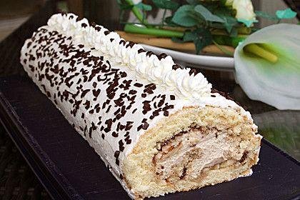 Biskuitrolle mit Nutella - Cappuccinosahne (Rezept mit Bild) | Chefkoch.de