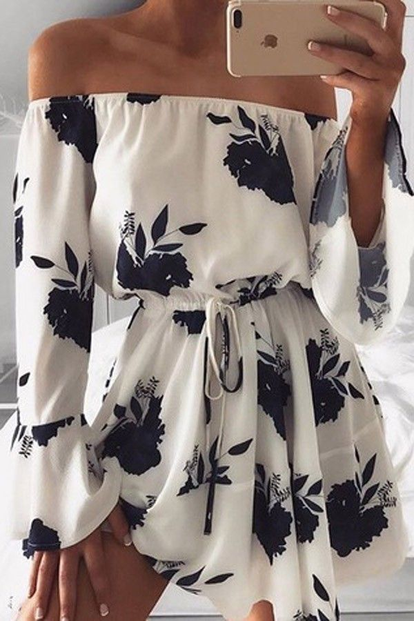 Black White Off Shoulder Floral Print Drawstring Vacation Dress