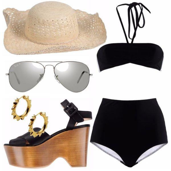 Per una giornata al mare all'insegna del relax, senza rinunciare allo stile. Un costume nero a vita alta, classici occhiali da sole, l'immancabile cappello di paglia, zeppe di legno e pelle nera. E stupendi orecchini color oro per essere sempre alla moda!