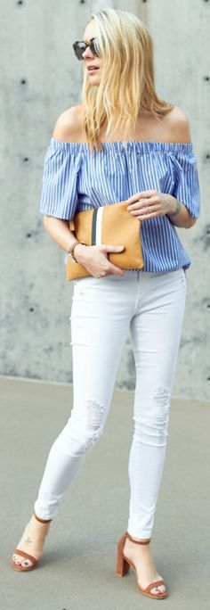 White jeans + perfect match + statement printed top + cute blue & white striped blouse + Banana Republic + Amy Jackson + two pieces + pair of neutral coloured heels + simple but stylish summer look! Top: Banana Republic, Jeans: James Jeans, Shoes: Stuart Weitzman, Clutch: Clare.
