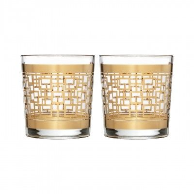WATERFORD Mixology Mad Men Edition Holloway Gold Patterned Double Old Fashioned, Pair