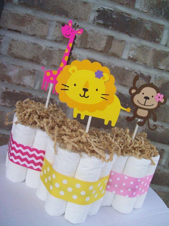 Tortas de pañales selva temática-Set de 5 por JudeBugsBabySweets