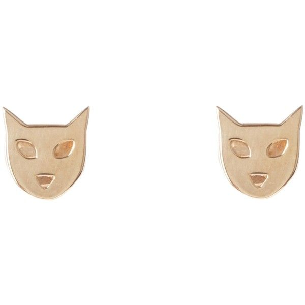 Karen Walker Cat Studs ($155) found on Polyvore featuring jewelry, earrings, accessories, jóias, women, cat pendant, cat stud earrings, pendant jewelry, pendant earrings and cat earrings